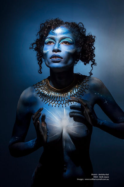 Galaxy body painting in shades of blue by Brisbane Body Painter Beth Joyce