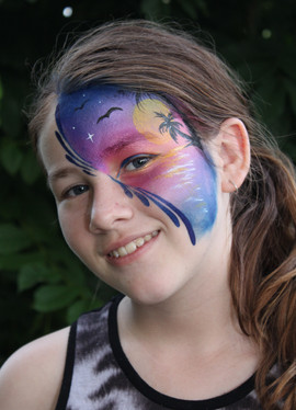 Tropical sunset face painting design by Brisbane face painter Beth Joyce