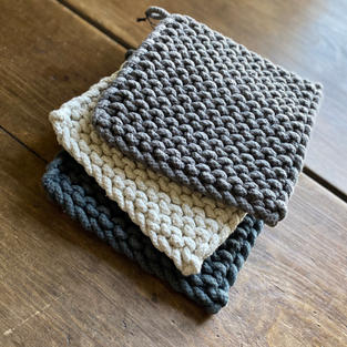 Square Cotton Crocheted Potholder Gray