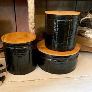 Black Stoneware Canister