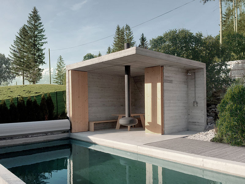 badehaus und betonpool