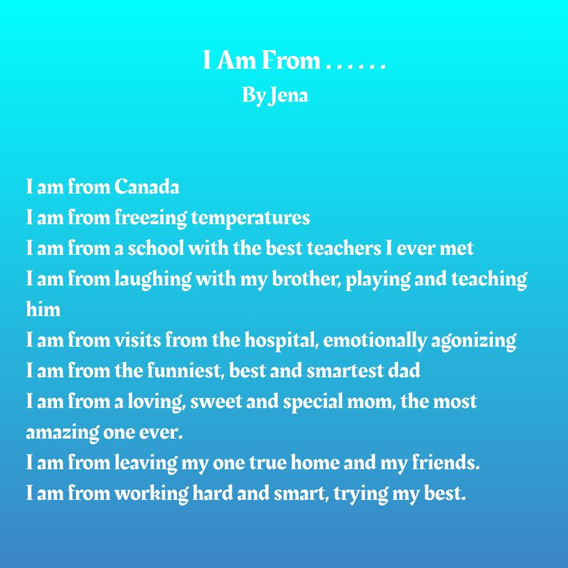 Jena Mhamdi - _I am from_ Poem