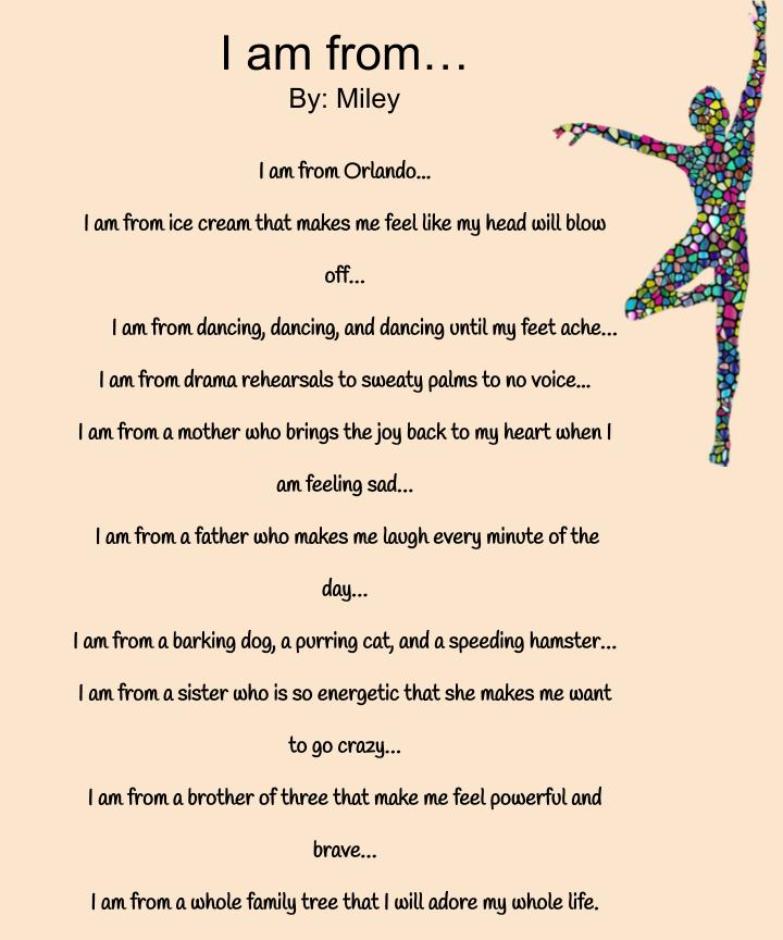 Miley's I am From Poem