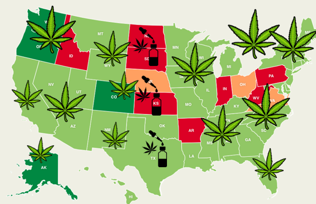 Legal marijuana states map | USA Weed map 2019