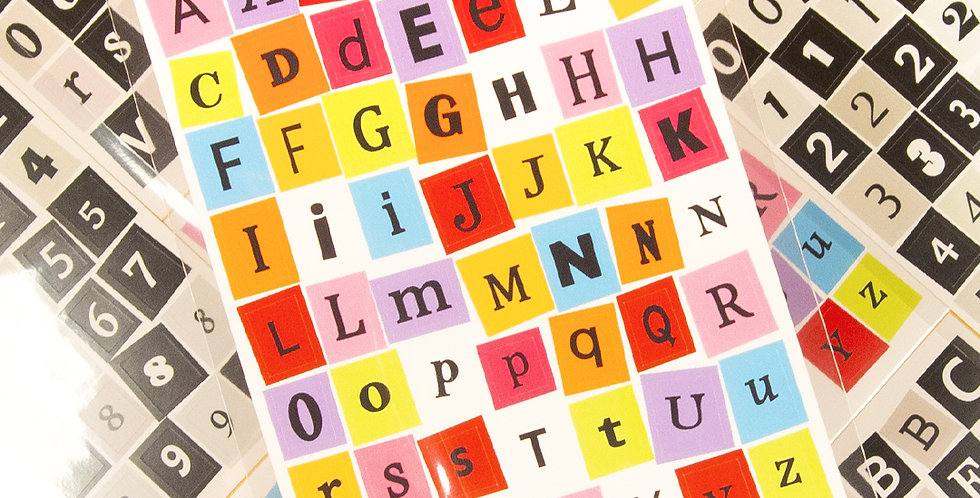 LOVE THINGS Book Alphabet Number (Highteen & Black) Sticker