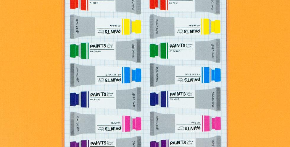 WANNATHIS Rainbow Paint Tube Sticker