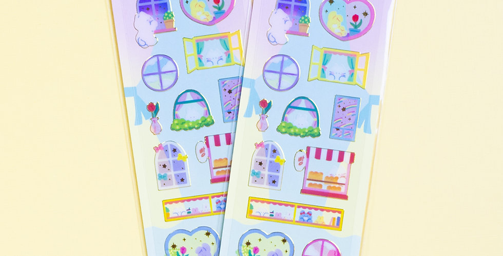 MANTA BOX Transparent Gilt Window Sticker