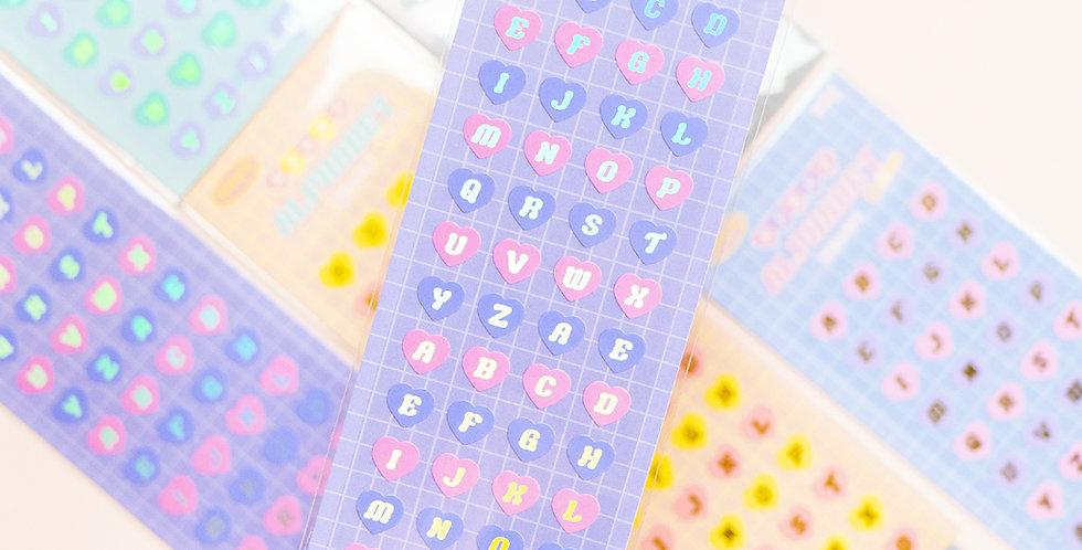MANTA BOX Sparkling Heart Alphabet Sticker