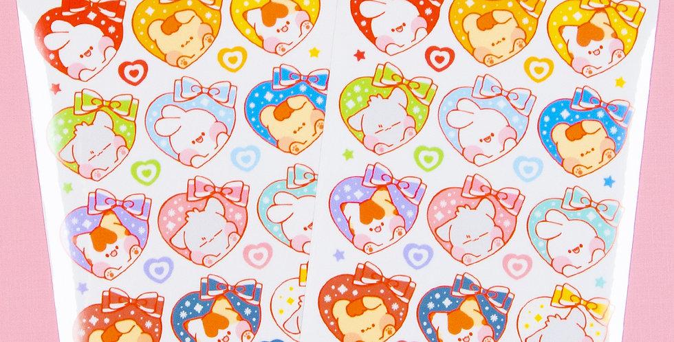 PUT SO NYEON Heart Ribbon Sticker