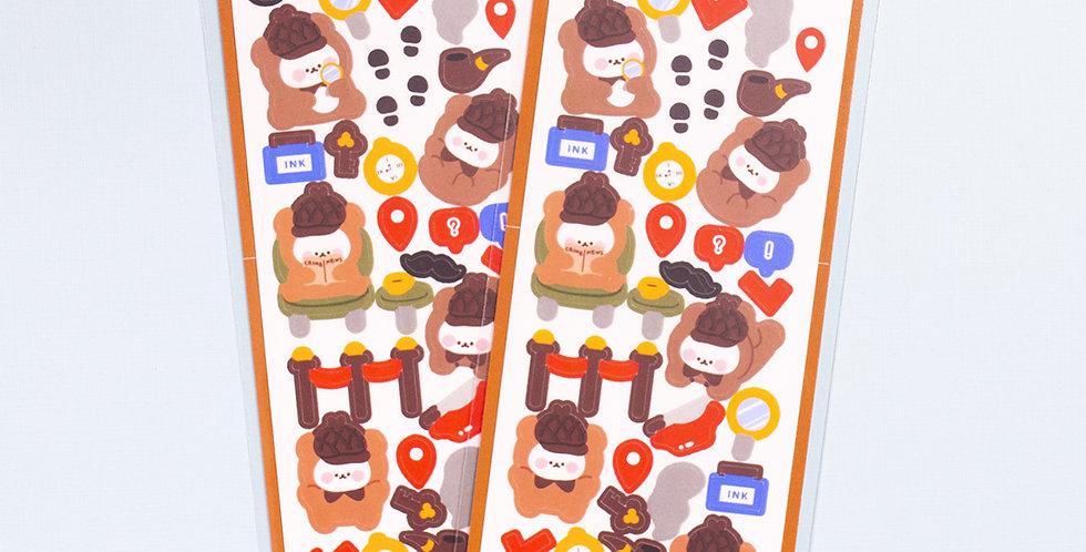COTTON DANCHOO Private Detective Bear Sticker