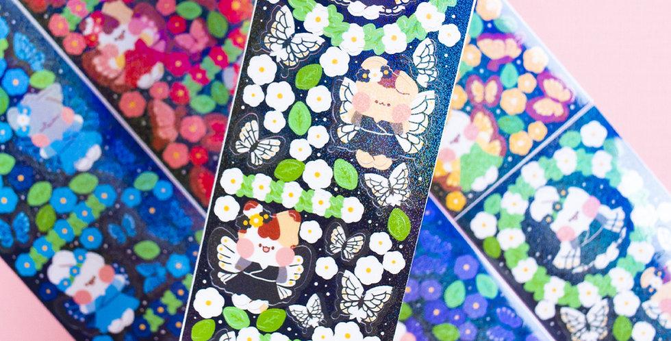 PUT SO NYEON Butterfly Flower Wreath Sticker