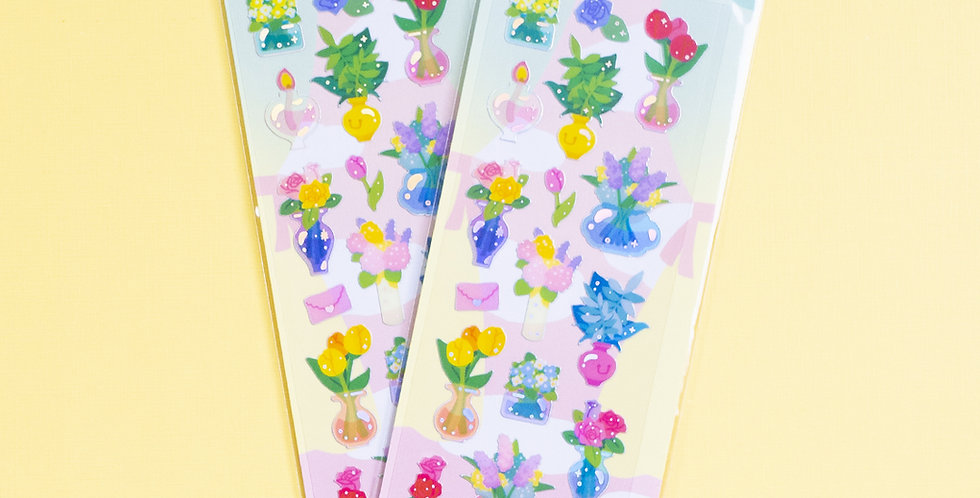 MANTA BOX Transparent Gilt Flower Vase Sticker