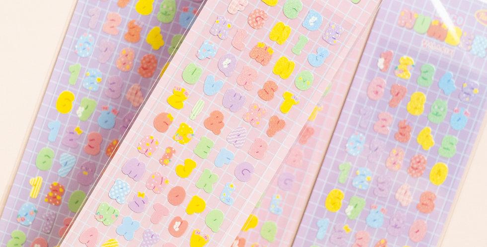 MANTA BOX Twinkle Deco Alphabet/Number Sticker