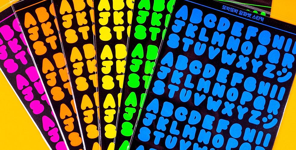 WANNATHIS Neon Alphabet Sticker