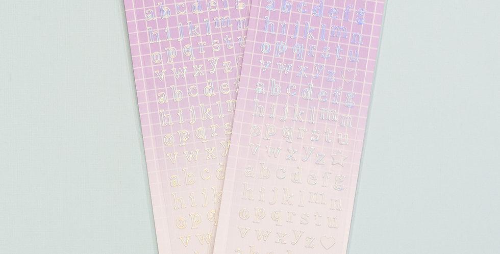 MANTA BOX Transparent Gilt 100% Small Alphabet Sticker