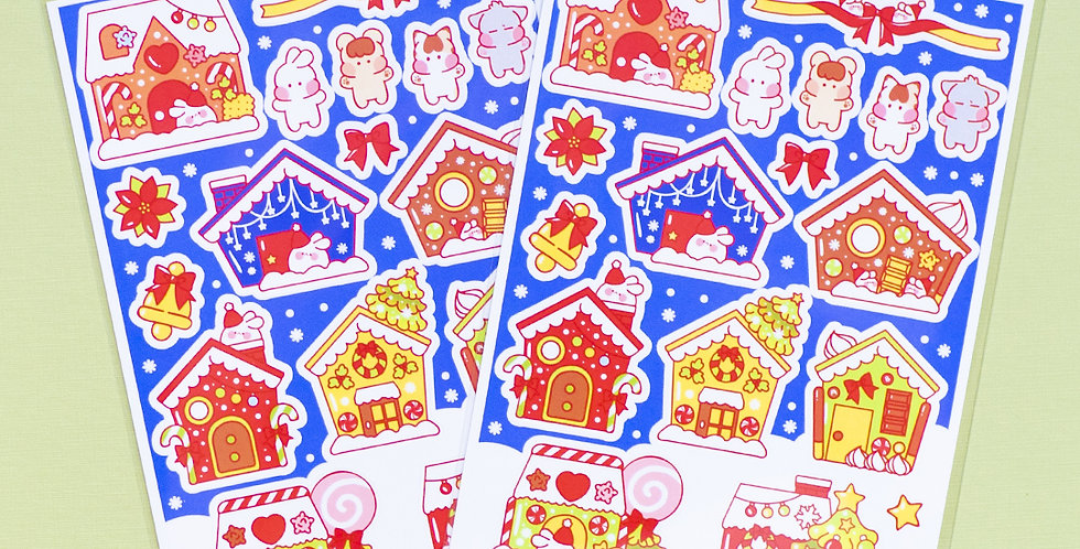 PUT SO NYEON Christmas Cookie House Sticker