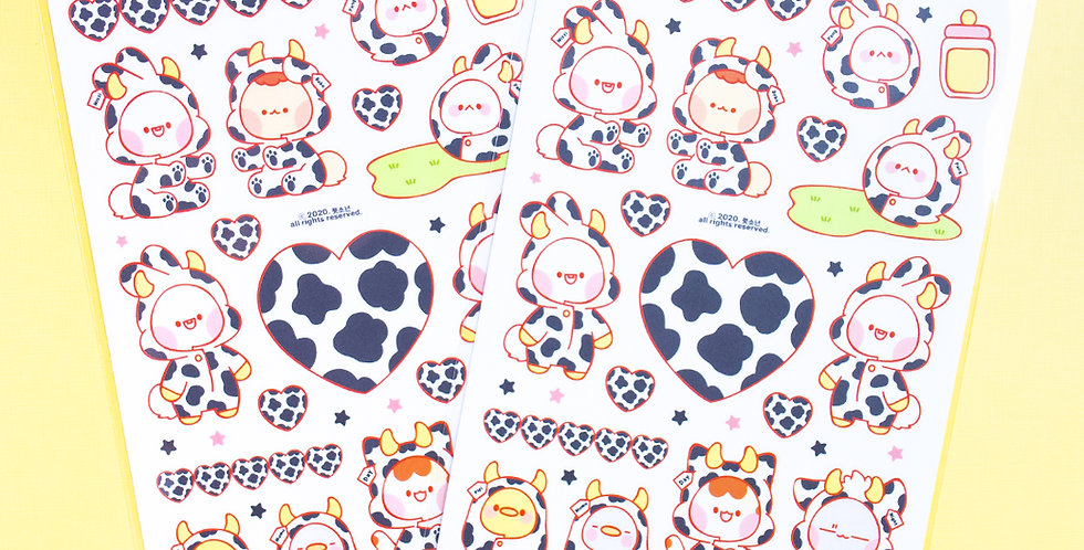 PUT SO NYEON Pajama Milk Cow Sticker