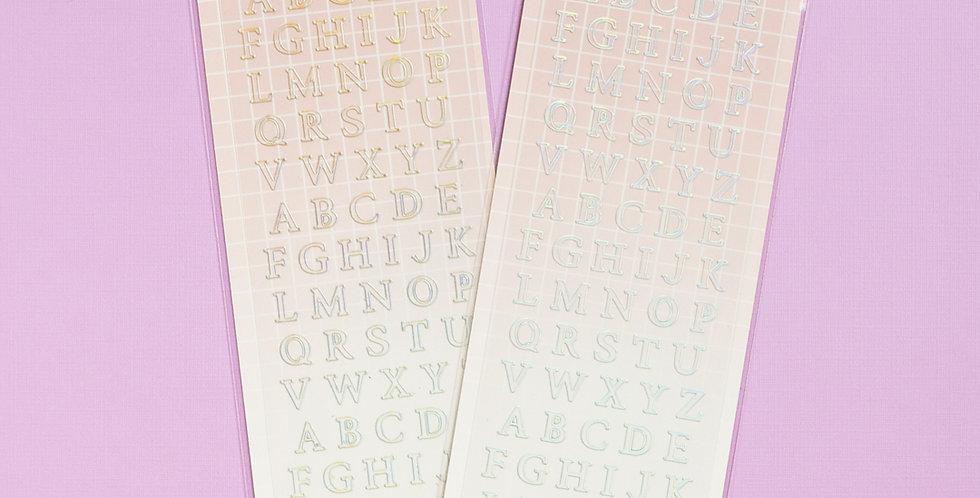 MANTA BOX Transparent Gilt 100% Alphabet Sticker