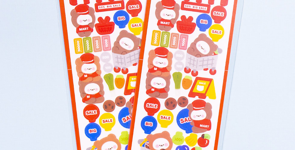 COTTON DANCHOO Super Market Bear Sticker