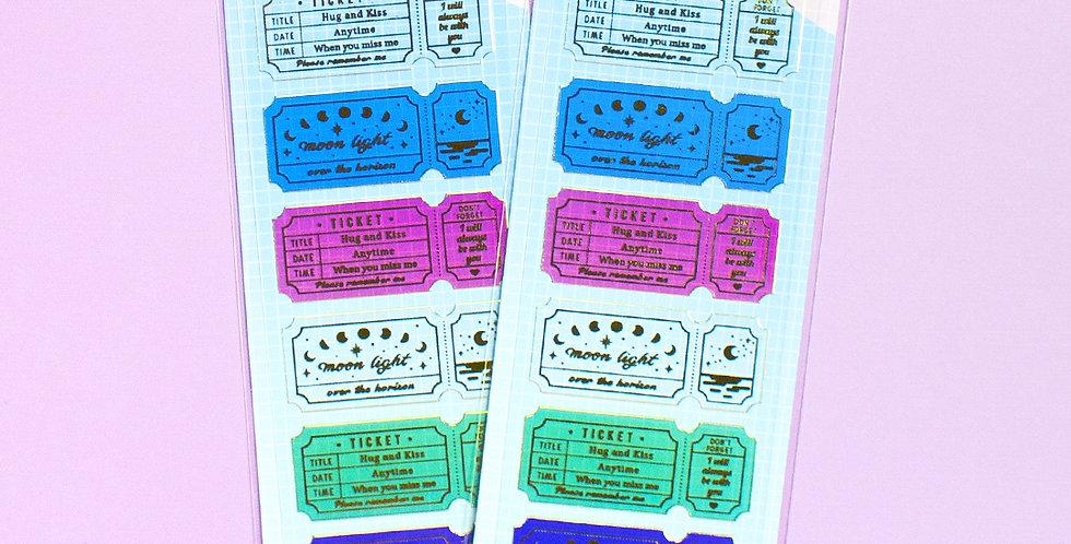 MANTA BOX Transparent Gilt Clear Ticket Sticker