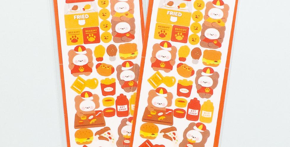 COTTON DANCHOO Fast Food Bear Sticker