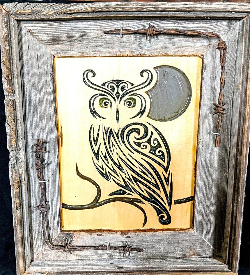 Wooden Owl Art piece