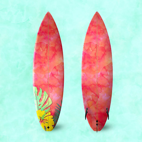 Tropical Flower Surf Board Wrap