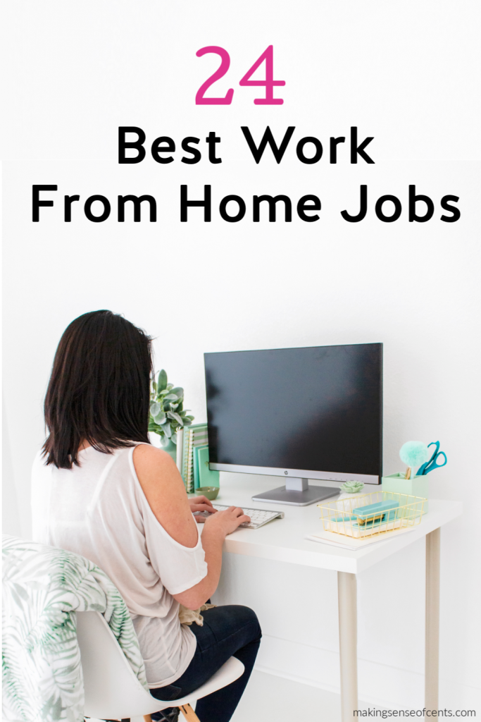 woman at computer work from home jobs