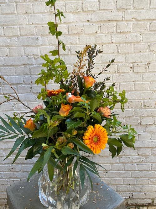 Veldbloemenboeket oranje tinten