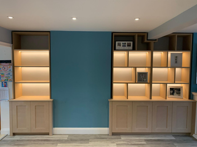 Triple bespoke alcove cupboards and shelving