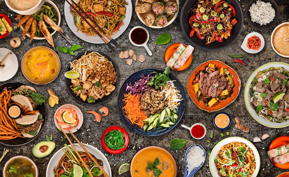 Asian food background with various ingre