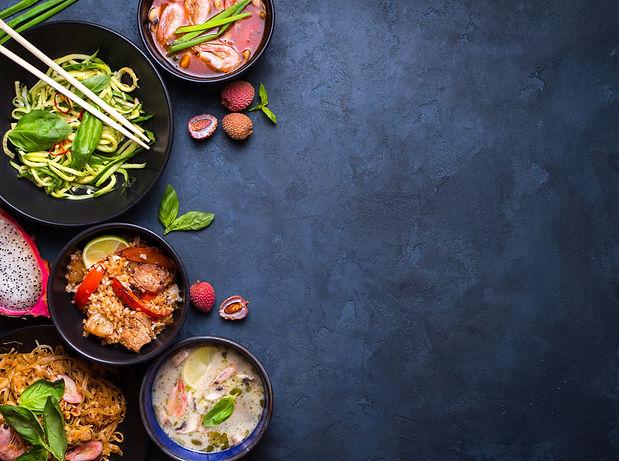 Thai food background. Dishes of thai cui