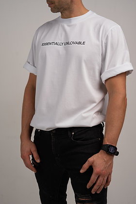 ESSENTIALLY UNLOVABLE white t-shirt