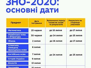 Зовнішнє незалежне оцінювання - 2020: графік проведення