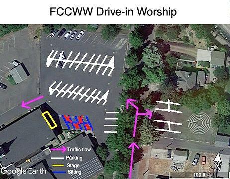 FCCWW Parking Lot drive-in worship plan.