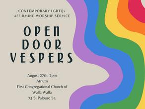Open Door Vespers-- Every Final Friday!