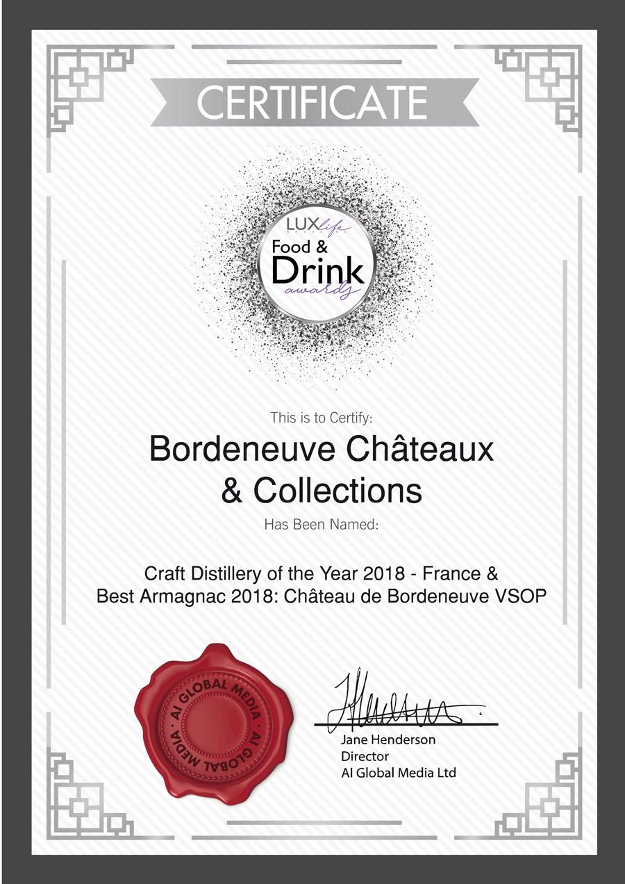 Bordeneuve : meilleure distillerie artisanale de 2018