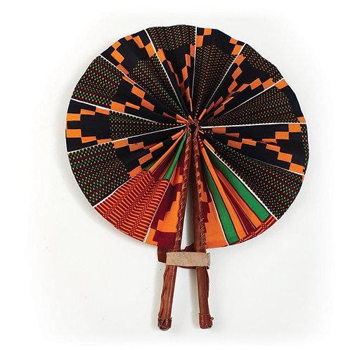 Black/Green Kente Leather Folding Fan