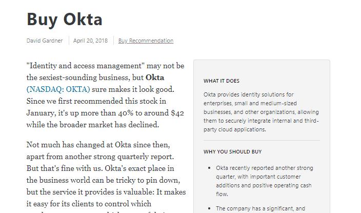 okta stock buy signal
