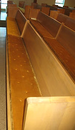 Pew Refinishing and Upholstery Before