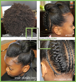 natural updo styling
