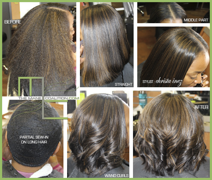 short sew-in on long hair