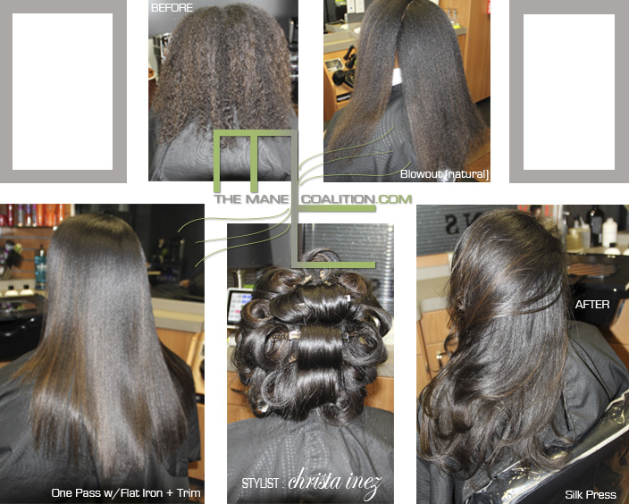 silk press long hair