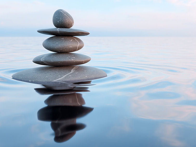 3d rendering of Zen stones in water with reflection - peace balance meditation relaxation concept.jp