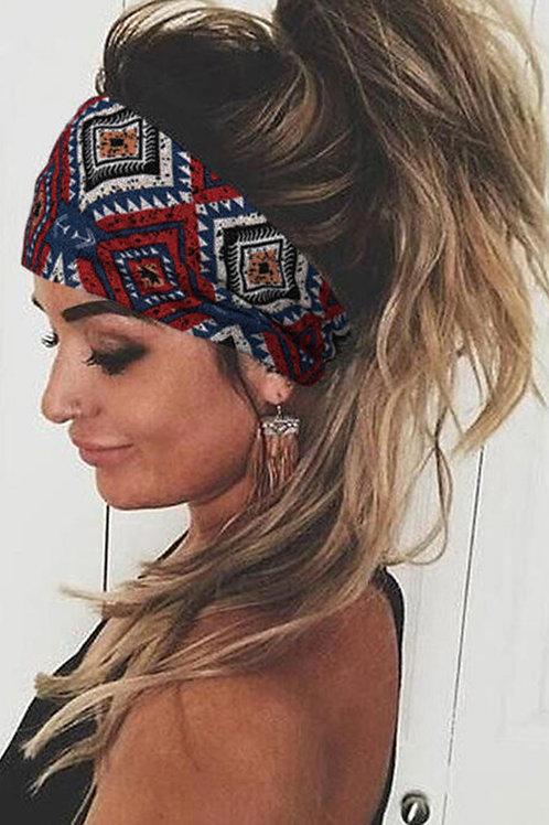 Burgundy Bohemian Geometric Floral Wide Stretchy Headband