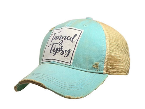 """Details Vintage Distressed Trucker Cap """"Tanned & Tipsy"""""""