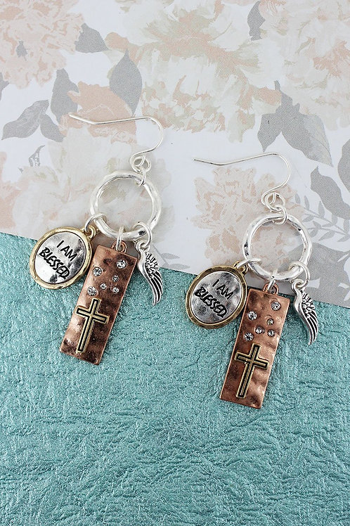BURNISHED TRI-TONE AND CRYSTAL 'I AM BLESSED' CHARM EARRINGS