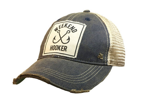 """Details Vintage Distressed Trucker Cap """"Weekend Hooker"""""""