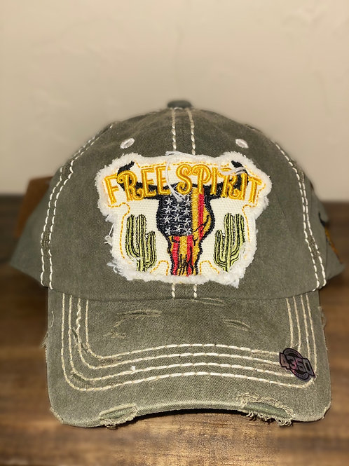 Distressed Olive 'Free Spirit' Flag Steer Skull Cap