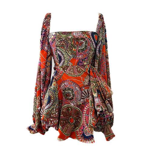 FAY- PRINT BELL SLEEVE DRESS